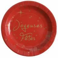 10 Assiettes Joyeuses Fêtes Rouge et Or