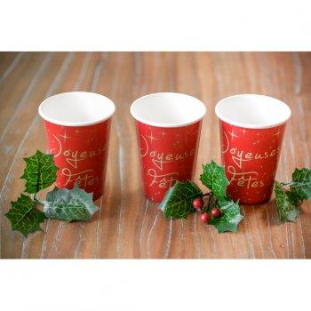 10 Gobelets Joyeuses Fêtes Rouge et Or
