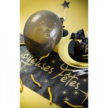 8 Ballons Joyeuses Fêtes Noir et Or