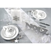 Chemin de Table Flocons Argent