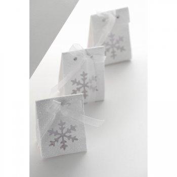 4 Boîtes Cadeaux Flocons et Paillettes Blanc