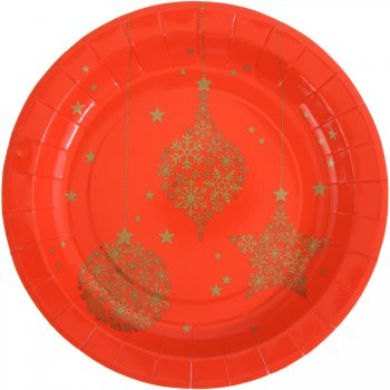 10 Assiettes Noël Chic Rouge