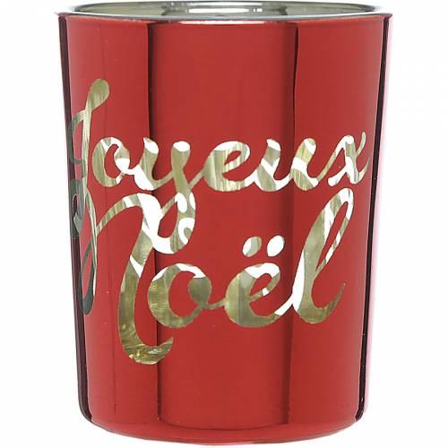 Photophore Joyeux Noël Rouge et Or (6,5 cm) - Verre