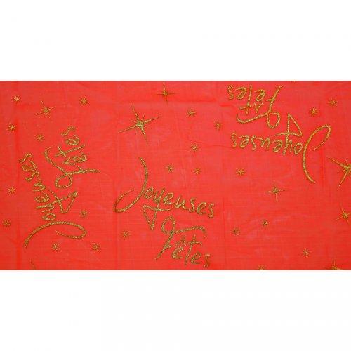 Nappe Joyeuses Fêtes Rouge (145 x 250 cm) - Organza