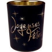 2 Photophore Joyeuses Fêtes Noir (6,5 cm) - Verre