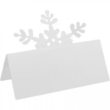 10 Marque-places Etiquettes Flocons Blancs - Carton