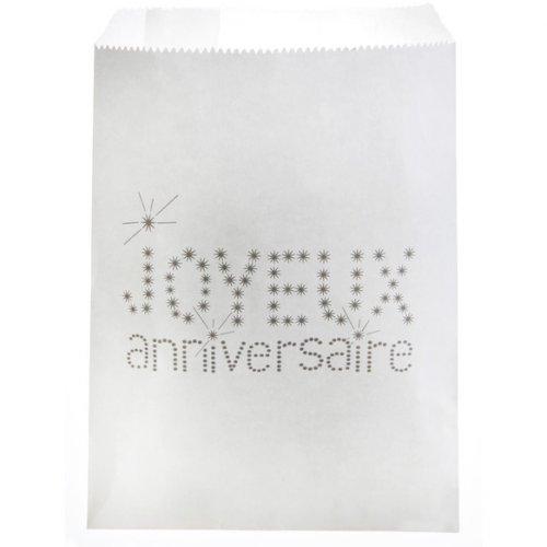 24 Pochettes Papier Joyeux Anniversaire (18 cm) - Blanc