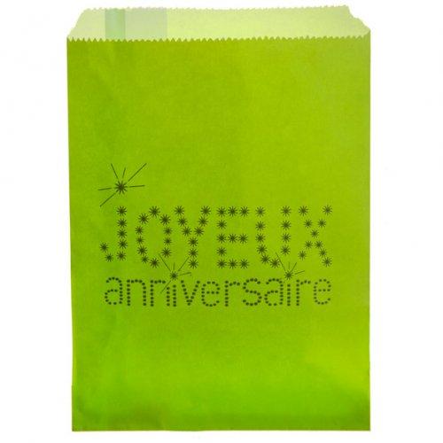24 Pochettes Papier Joyeux Anniversaire (18 cm) - Vert