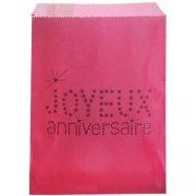 24 Pochettes Papier Joyeux Anniversaire (18 cm) - Rose Fuchsia