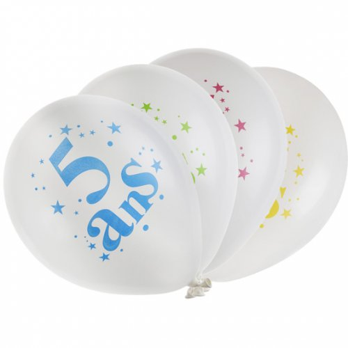 8 Ballons 5 ans Multicolore