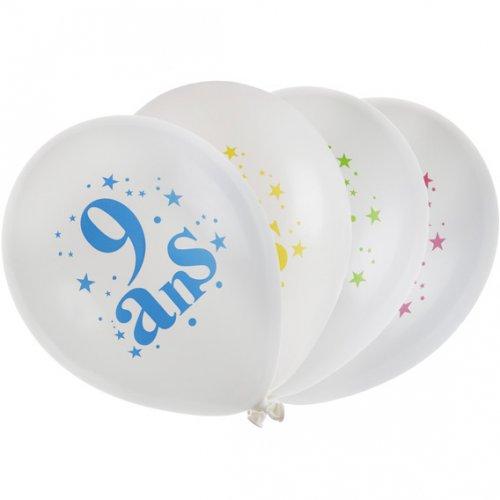 8 Ballons 9 ans Multicolore