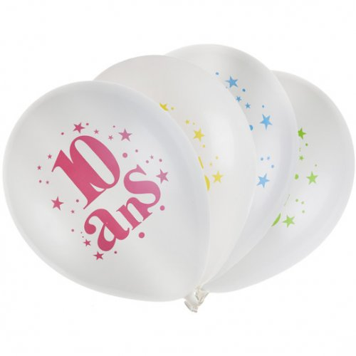 8 Ballons 10 ans Multicolore