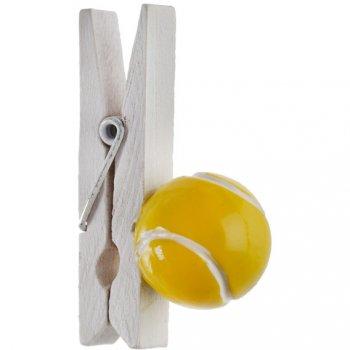 4 Pinces Déco Balle de Tennis (4,5 cm)