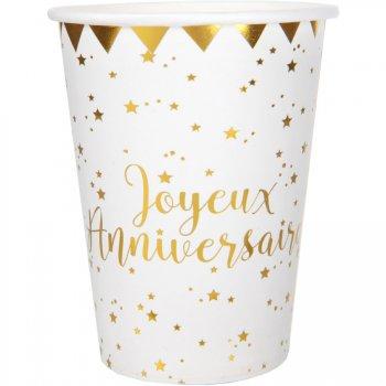10 Gobelets Joyeux Anniversaire Lamé Or