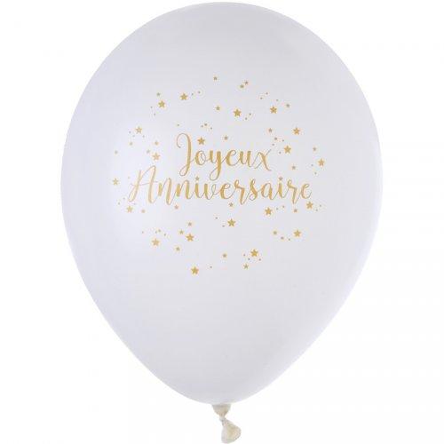 8 Ballons Joyeux Anniversaire Lamé Or