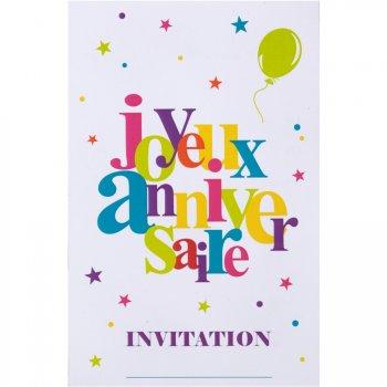 6 Cartes d Invitations Joyeux Anniversaire Multicolore