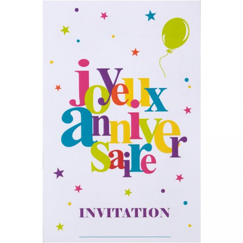 6 Cartes d Invitations Joyeux Anniversaire Multicolore