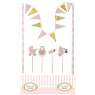 Kit Décorations Gâteau Mademoiselle Baby Rose