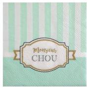 20 Serviettes Monsieur Chou Turquoise