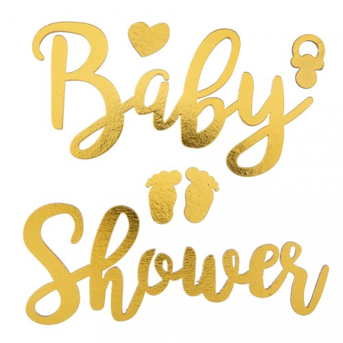 Stickers Déco 2D Baby Shower Or