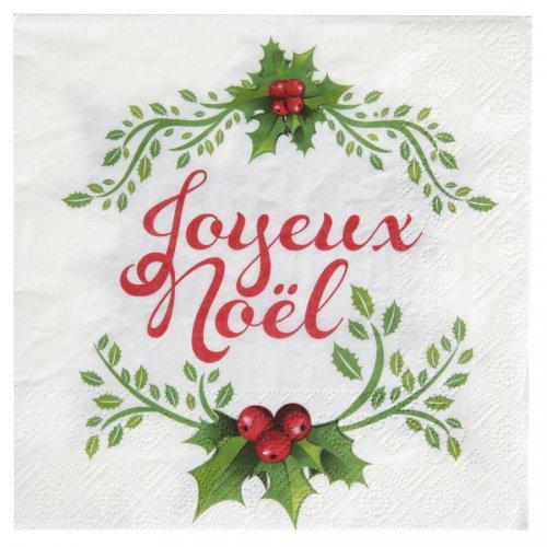 20 Serviettes Joyeux Noël