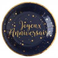 10 Assiettes Joyeux Anniversaire Bleu Nuit