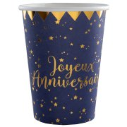 10 Gobelets Joyeux Anniversaire Bleu Nuit