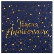 20 Petites Serviettes Joyeux Anniversaire Bleu Nuit