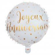 Ballon Gonflé à l'Hélium Joyeux Anniversaire Lamé Or