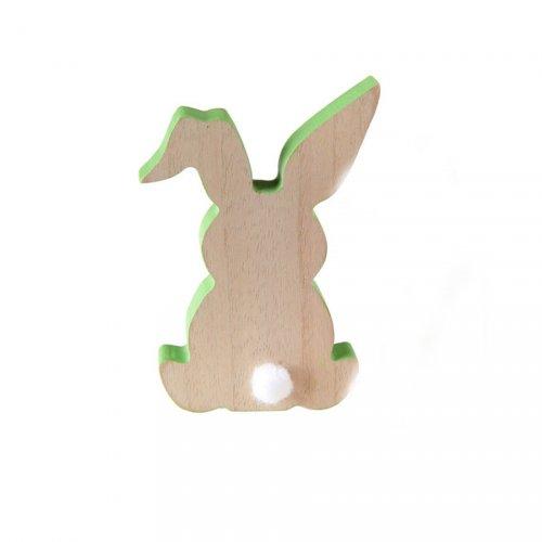Déco Silhouette Lapin Vert (12 cm) - Bois