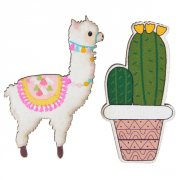 18 Confettis Lama Fiesta (4 cm) - Bois