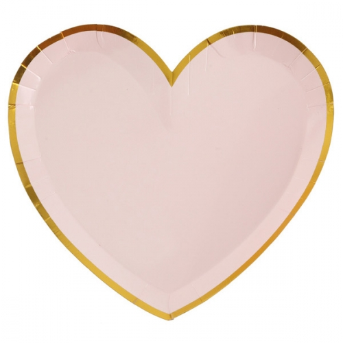 10 Assiettes Coeur BB Rose