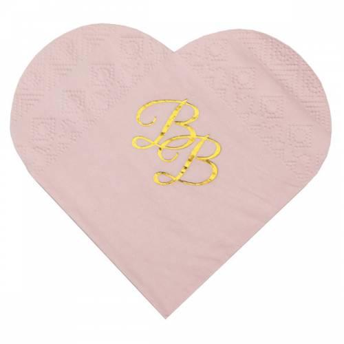 10 Serviettes Coeur - BB Rose