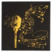 20 Serviettes Musique - Or Noir