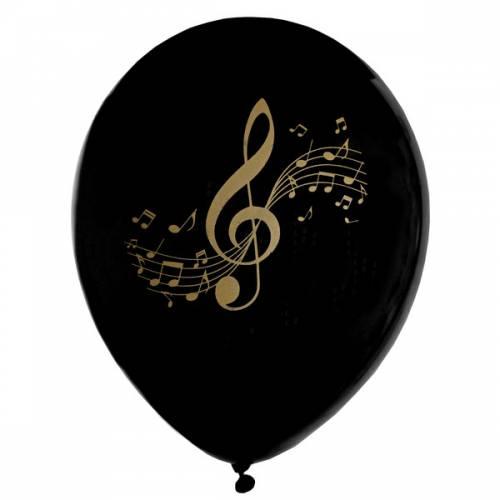 8 Ballons Musique - Or Noir