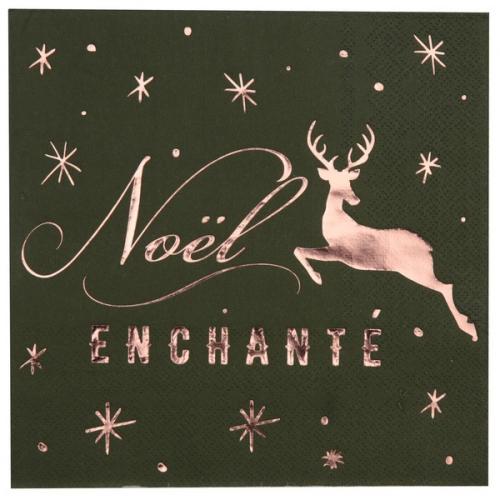 20 Serviettes Noël Enchanté Kaki