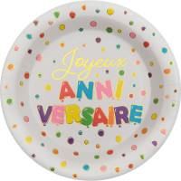 Contient : 1 x 10 Assiettes Anniversaire Ballon Multicolores