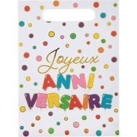 Contient : 1 x 10 Pochettes Cadeaux Anniversaire Ballon Multicolores