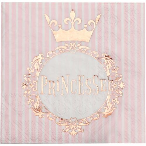 20 Serviettes Princesse Rose Gold