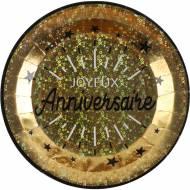 10 Assiettes Anniversaire Etincelant Or