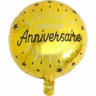 Ballon Gonflé à l'Hélium Anniversaire Etincelant Or