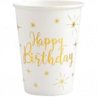10 Gobelets Happy Birthday Gold