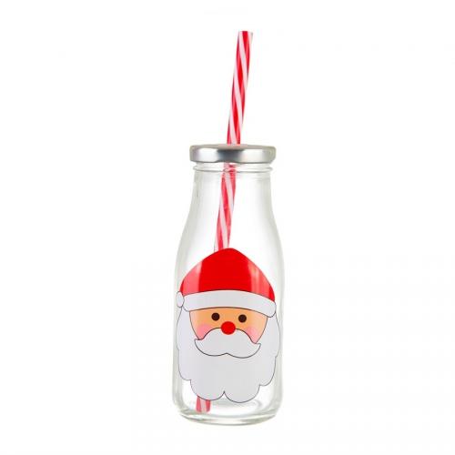 Bouteille en Verre + couvercle + paille Père Noël