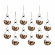 12 Mini Boule de Noël Dorées ( 3 cm) - Verre