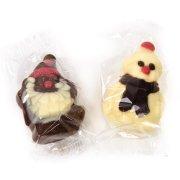 1 Bonhomme de Neige et 1 Père Noël en Chocolat