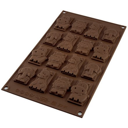 Moule Easy Choc 16 Animaux Jungle à plat - Silicone