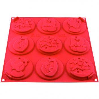 Moule 9 Biscuits de Noël à suspendre (8 cm) - Silicone