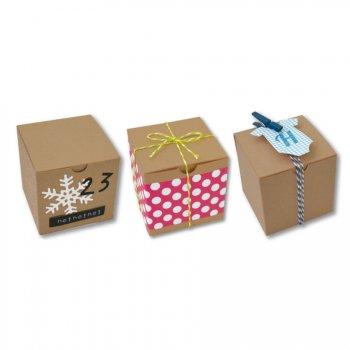6 Mini Boites Cubes (5,5 cm) à décorer - Carton Kraft
