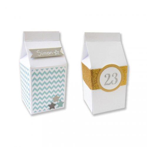 6 Petites Boites à lait (7 cm) à décorer - Carton Blanc