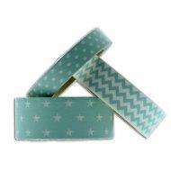 3 Masking Tape Etoiles/Pois/Zig-Zag (15 m) - Bleu Turquoise